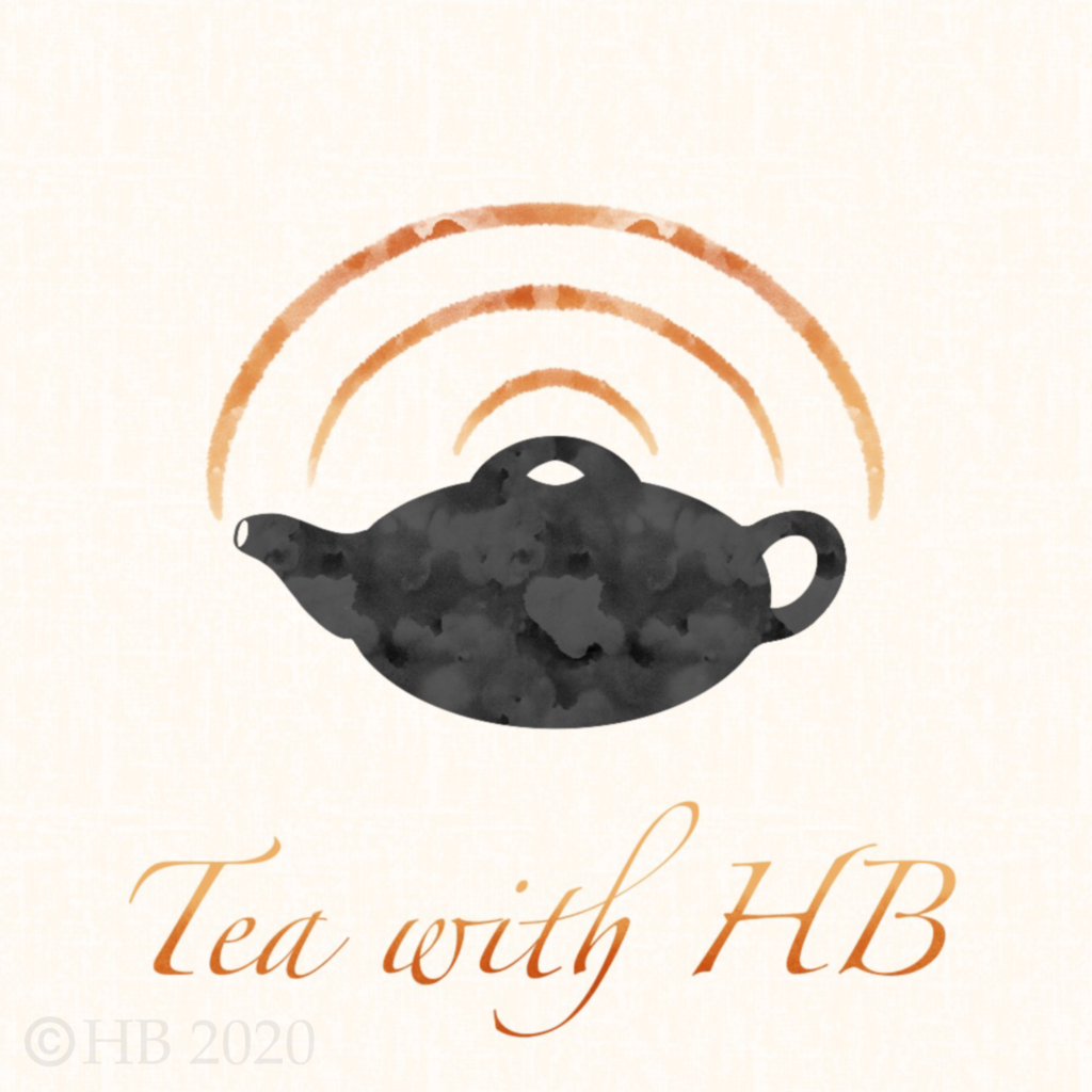 A Teapot with three ripples emitting from the spout like sound waves, with the writing Tea with HB below